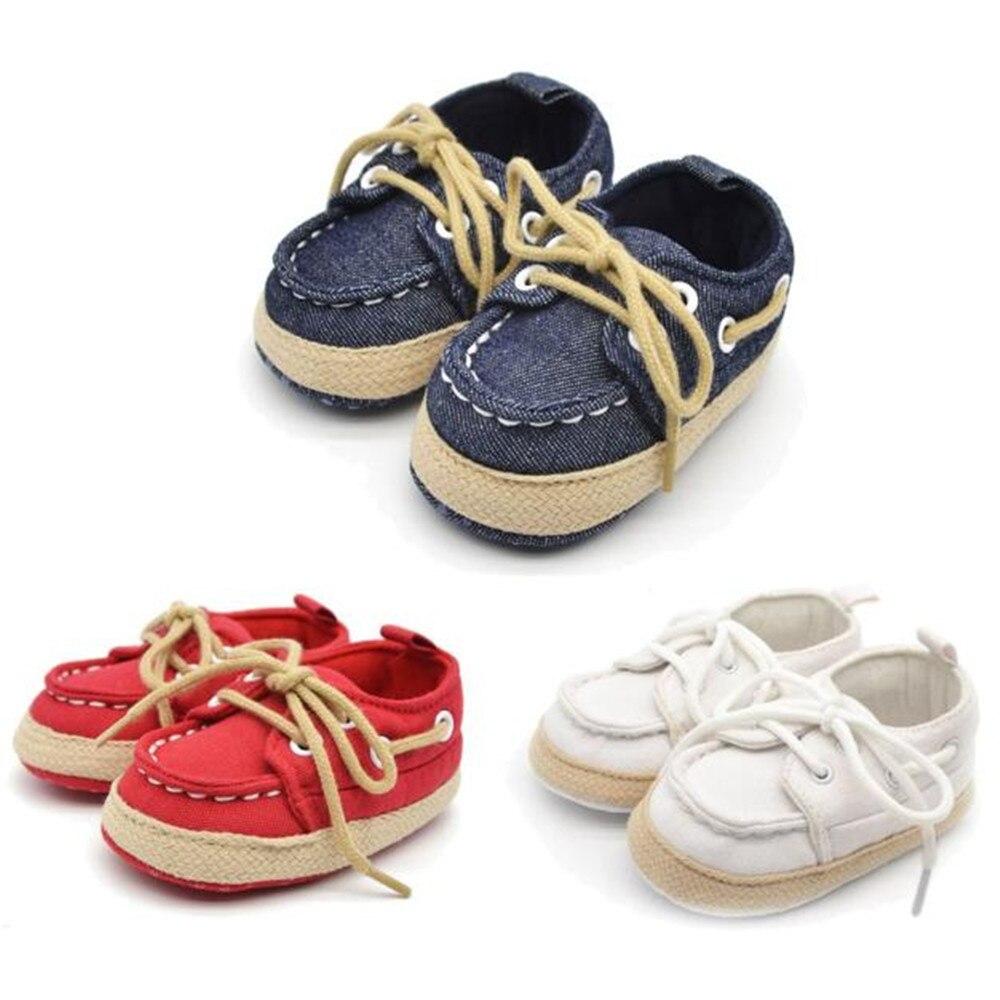 Zapatos infantiles para niños y niñas, suela de zapatilla, cuna de tela vaquera, botines para niños recién nacidos, primeros pasos, suela suave antideslizante BTTF