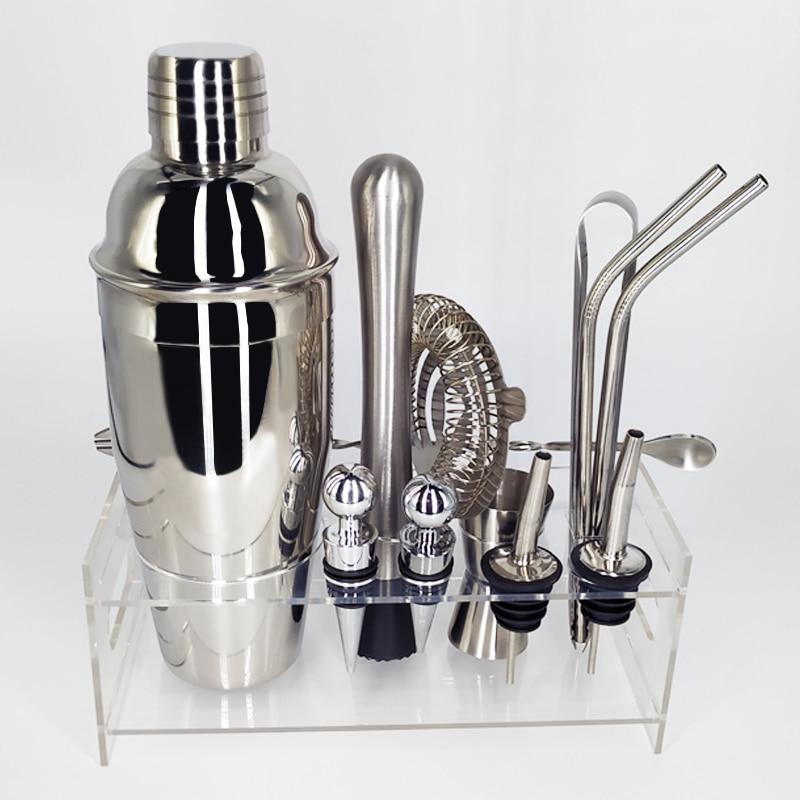 13 unids/set kit de coctelería coctelera Kit camarero kit de agitadores de barra de acero inoxidable herramienta con vino Rack