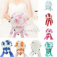 Newest Wedding Bouquet Artificial Flowers Rose Crystal Teardrop Bridal Bouquet Bride Bridesmaid Girl Wand Decor