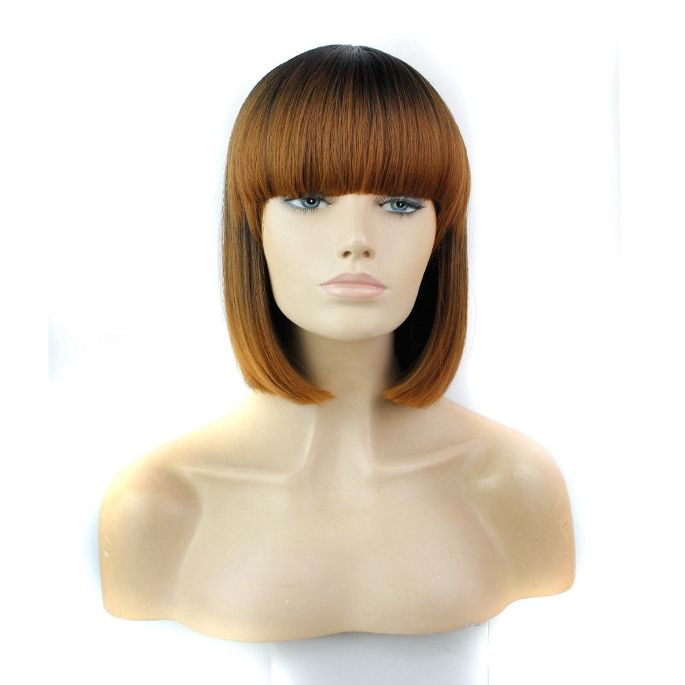 """Luxury For Braiding 12"""" Ombre Brown Blue Short Cut Hairstyle Straight Heat Resistant Synthetic Bob Wig with full Bang"""