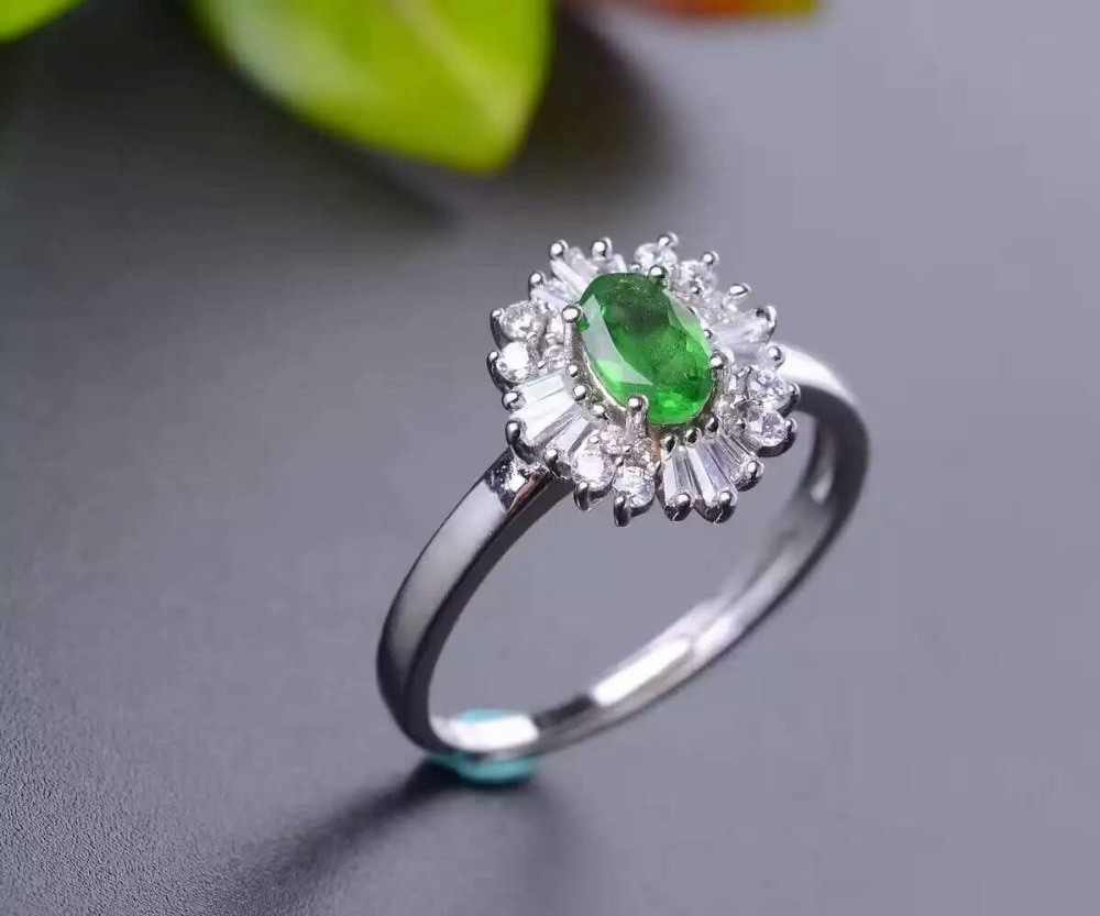 Natural Tsavorite Ring Natural green garnet ring 925 sterling silver trendy big Sunflower women's girl gift Jewelry