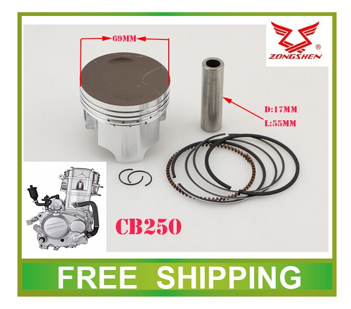 69mm zongshen CB250 zs169fmm water cooled engine piston ring set  xmotos apollo 250cc atv quad dirt pit bike parts free shipping
