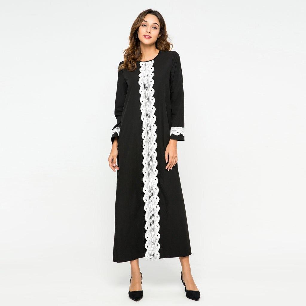 Vestido Kaftan musulmán islámico Abaya de empalme de encaje para mujer, vestido largo turco, cárdigan musulmán Jilbab Maxi vestido a0318
