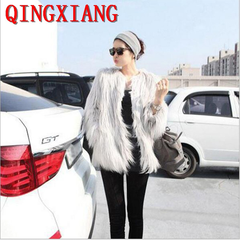 S-3XL Women Washed Smooth Faux Fox Fur Long Sleeves Solid Short Coat 12 Colors 2019 Plus Size Cape Winter Thick Warm Cardigan