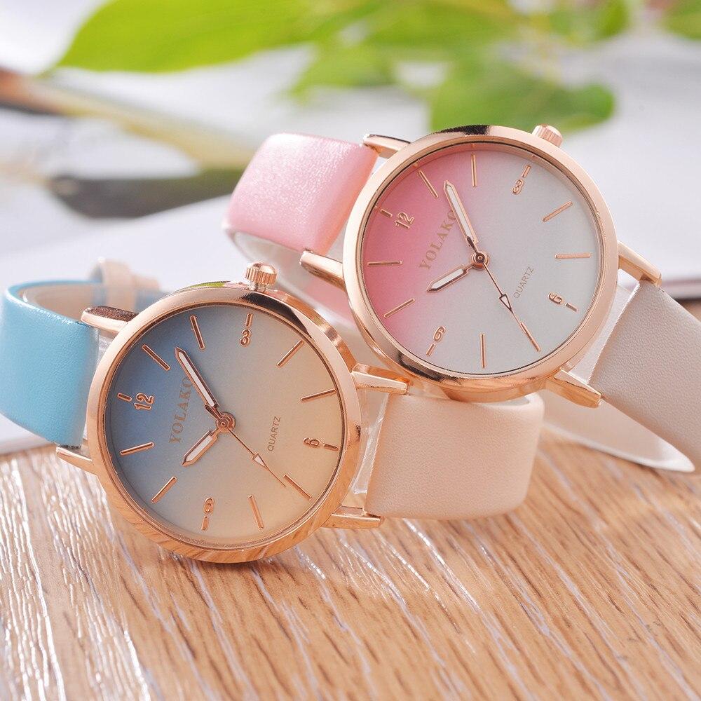 Reloj de mujer, Reloj Casual de cuarzo con degradado de caramelo, correa de cuero, nuevo Reloj de correa, regalo de cumpleaños, Reloj de dama Wd3 sea