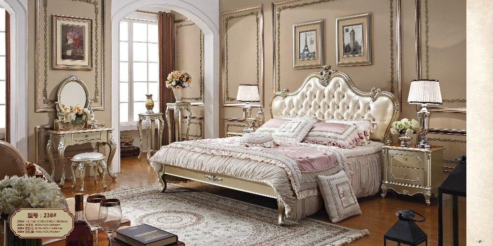 0426 0019 роскошная деревянная кровать в европейском стиле цвета шампанского|Наборы