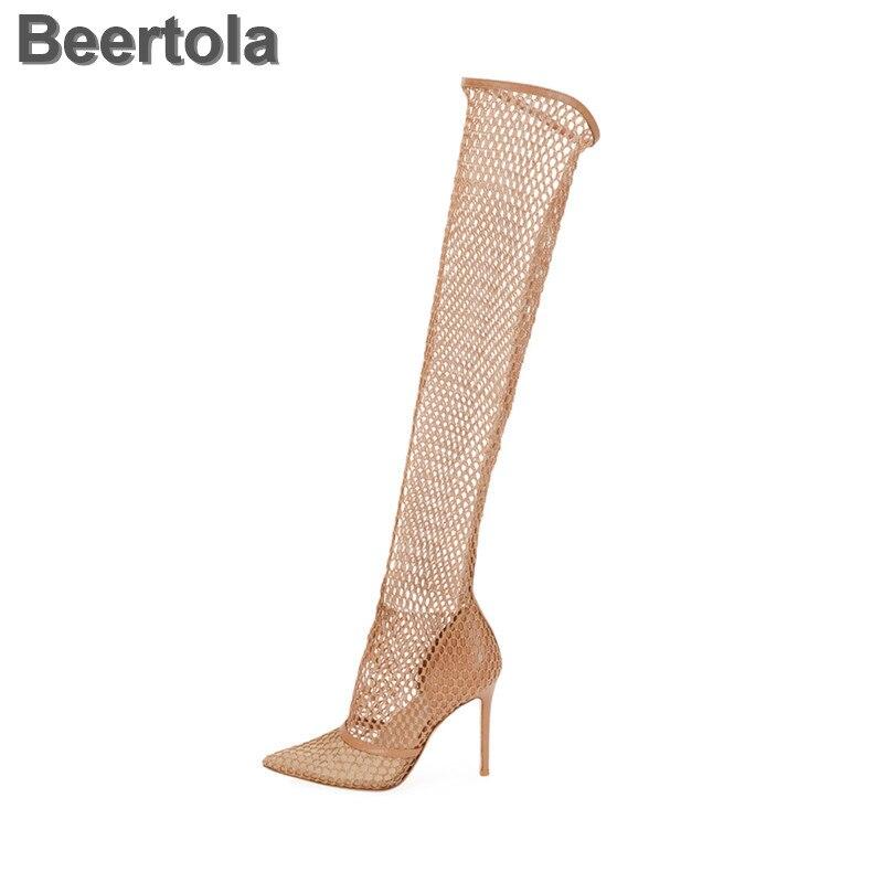 דק עקבים Mesh נשים גבוהה למעלה סנדלי רומא להחליק על קיץ נעלי הולו מגניב סקסי סנדלי מגפי אופנה מעצב Sapatos mulher