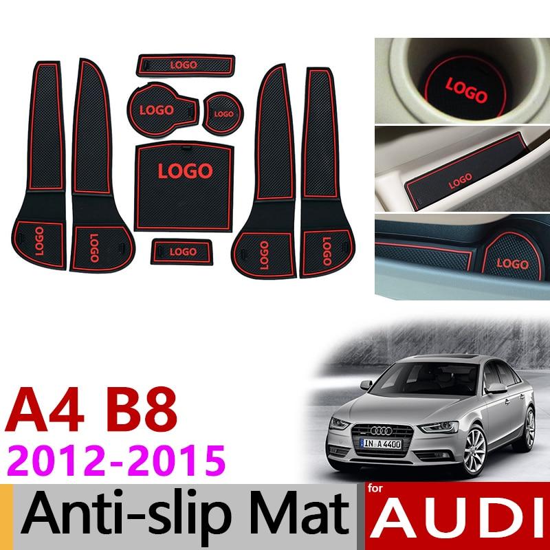 Alfombrilla de goma antideslizante con ranura para puerta para Audi A4 B8 2012 2013 2014 2015 A4 8K RS4 S4 S line RS 4, accesorios interiores con estilo para coche