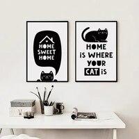 Toile A4 en noir et blanc  Simple chat anglais  tableau imprime  affiche murale pour chambre denfant  decoration pour la maison  07G