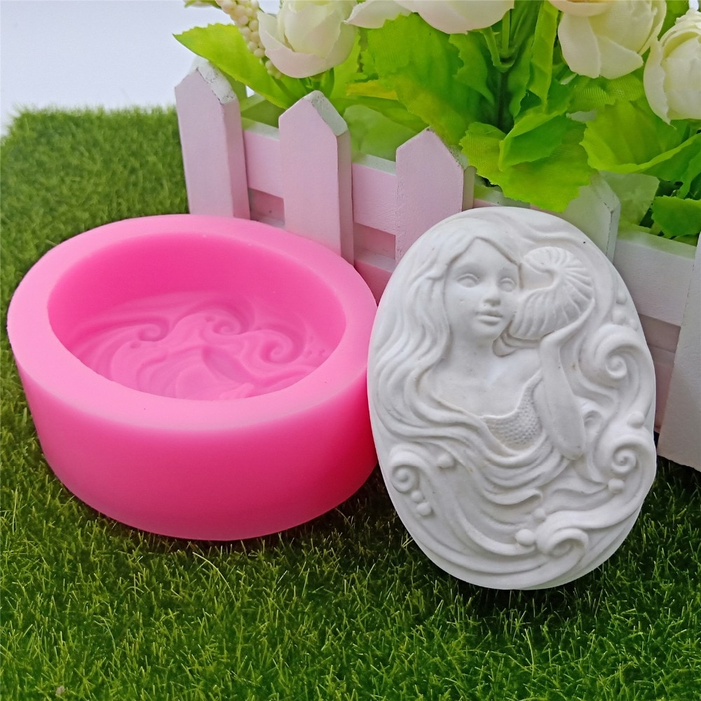 Molde de jabón de señora de pelo largo, molde de silicona ovalado decorativo para jabón DIY