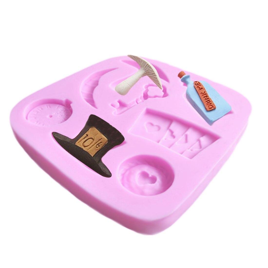 Tarjeta de póker sombrero forma de reloj de calidad alimentaria molde de silicona gelatina y chocolate jabón decoración manualidades herramienta utensilios de cocina para hornear