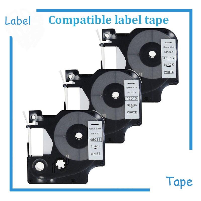 D1 Label Tape 45013 S0720530 Compatible con DYMO LabelManager 160 negro sobre blanco 1/2 pulgadas x 23 pies, 3 cartuchos