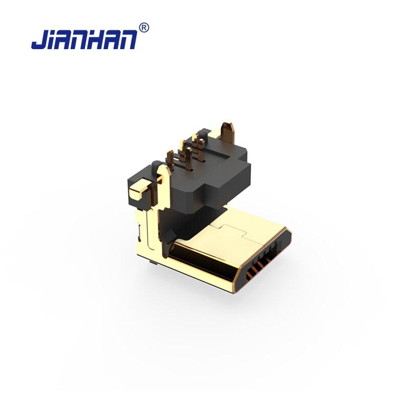 Jianhan micro usb conector de 90 graus vertical 5 pinos usb adaptador conectores micro usb 2.0 adaptadores para pcb