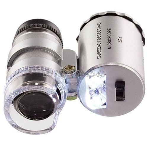 Portátil mini microscópio 60x led jóias lupa uv detector de moeda lupa r02 whosale & dropship