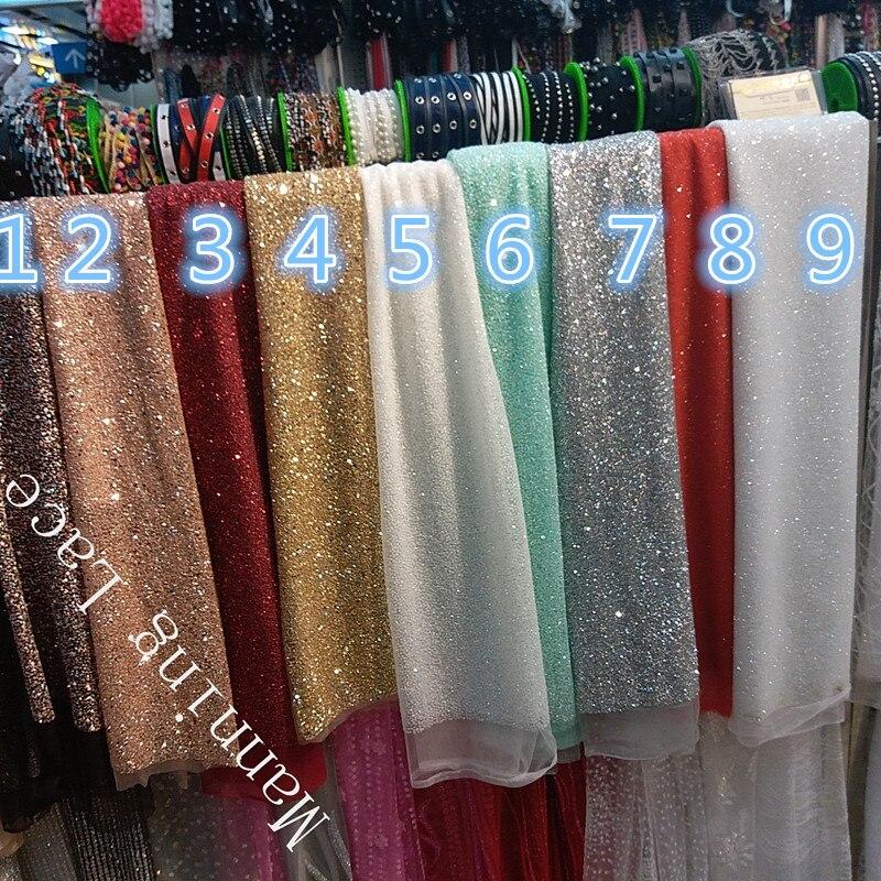 Ткань для индийских свадебных торжеств с клеем и блестками, расшитая вручную, 9 видов цветов золотого/серебряного/Красного/светло-синего/ша...