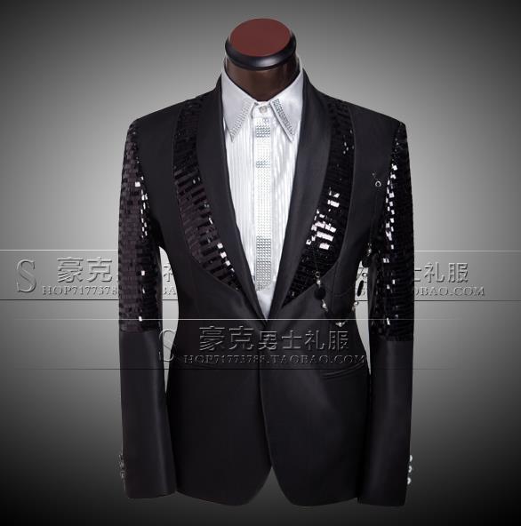 Negro 2020 llegada marca-Ropa-traje de hombre slim conjunto pantalones con lentejuelas trajes de hombre novio de Boda boda Vestido formal Traje + pantalón + corbata 4XL