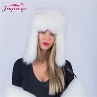 jinjin qc winter hat female faux fur hat russian furry warm women mongolian cap with faux fur ear protecter skullies beanies