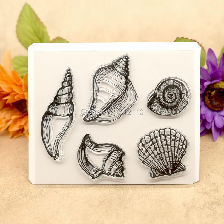 Concha de recortes tarjetas de fotos de manualidades cuenta sello de goma claro sello transparente sello 12,5x10,5 cm KW680609