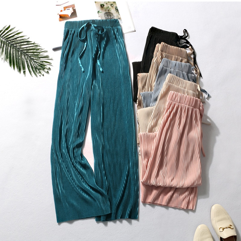 DASSWEI pantaloni larghi estivi per donna casual elastico a vita alta 2020 New Fashion pantaloni lunghi allentati pantaloni a pieghe pantaloni Femme