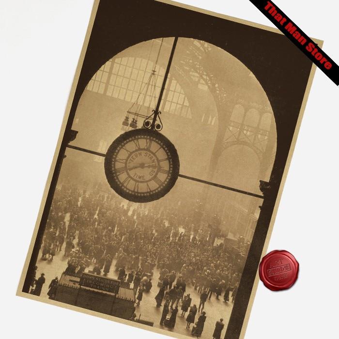 Vintage core New York Penn Station Vintage Papier Poster Retro kunst Wand Dekoration Gemälde 42X30CM