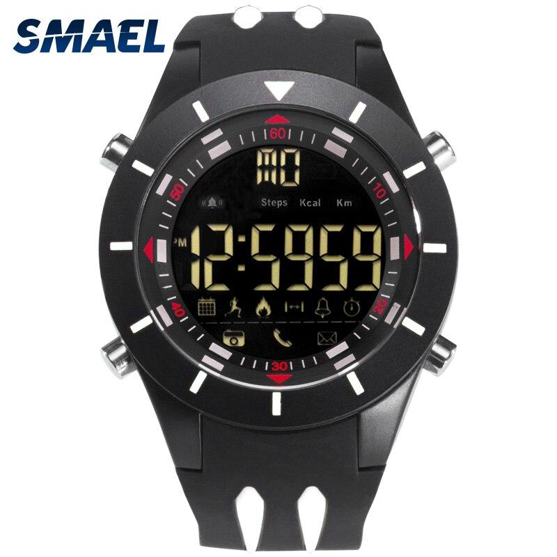 Relojes de pulsera digitales SMAEL, reloj de pulsera impermeable con pantalla LED grande, cronómetro deportivo negro, reloj de silicona LED para hombre 8002
