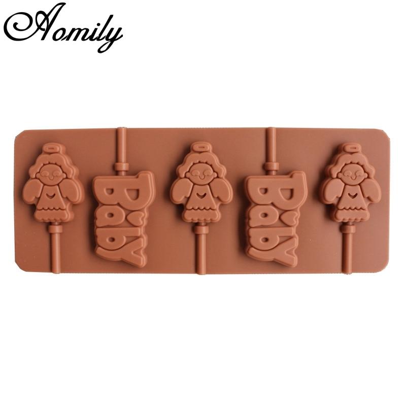 Aomily 3D Angel Baby Lollipop Candy Chocolate molde DIY baqueware silicona hecho a mano Pop ventosas Lolly molde con forma de palo