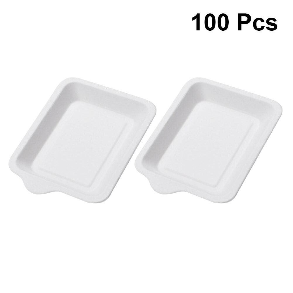 Platos de papel rectangulares no tóxicos 100 Uds., platos biodegradables desechables ecológicos para pastel, plato de comida, suministros para fiestas, plato de postre