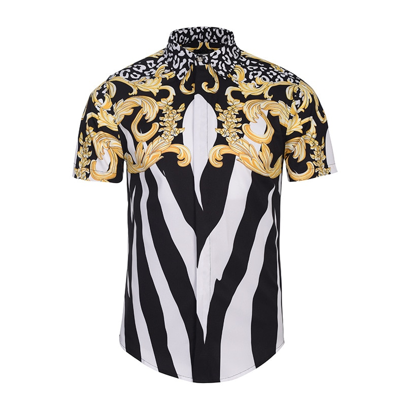 Männer streifen Leopard druck Kleid Shirts Einzigartige Medusa Shirt Mode 3D Kurzarm Luxus Harajuku Männer Einzigartige Medusa Shirt