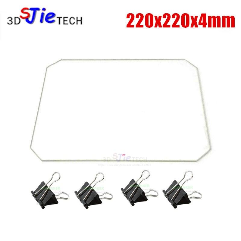 220x220x4mm Borosilikatglas platte Ecke Cut mit Bett Clips für Wanhao Duplizierer i3 Anet A8 i3 MK2 MK3 3D Drucker