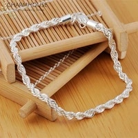 solid 925 silver bracelets for women men 4mm twisted chain bracelet bangles wristband pulseira fashion jewelry gifts bijoux