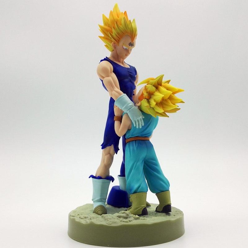 20cm Dragon Ball Z Super Saiyan Vegeta and Trun Father With Son Goku PVC Action Figures Dramatic Showcase 4th Season
