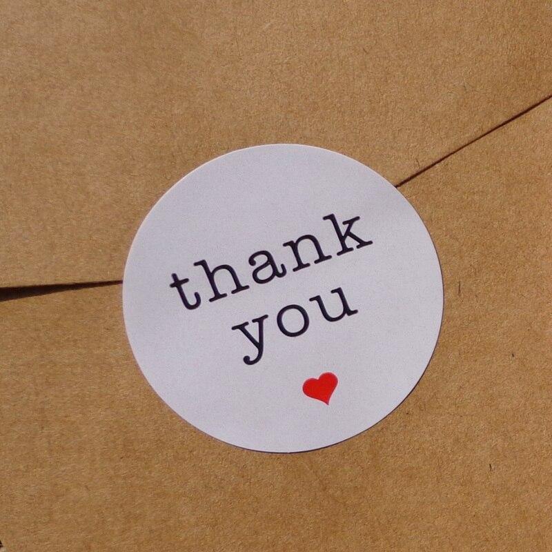 102 Uds gracias con el corazón rojo Kraft pegatina de papel para scrapbooking regalo Etiqueta de bricolaje auto-pegatina de sello adhesivo Dia.3.8cm