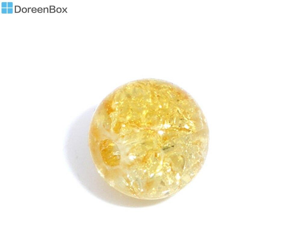 Doreen Box hot- 100 cuentas redondas de vidrio craquelado de 8mm de diámetro. (B05630)