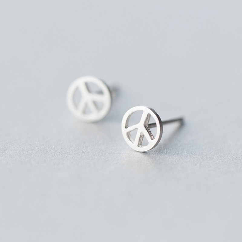 100% 925 Sterling Silver Jewelry di Modo Carino Piccolo 6mm X 6mm Anti-Guerra Aereo Orecchini Regalo per le Ragazze bambini Della Signora