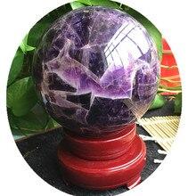 Boule de cristal violet fantaisie naturelle   80-85mm, boule de cristal pour réparation pierres et minéraux naturels + basal