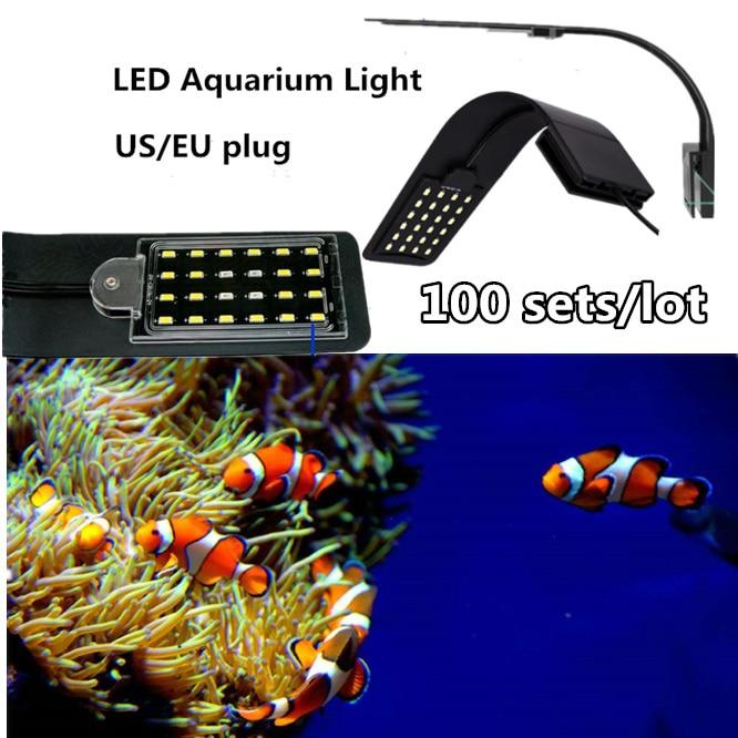 100SETS super Bright LED Aquarium Light Lighting 10W Aquatic Lamps Waterproof Clip on Lamp For Tanks Energy saving US/EU plug