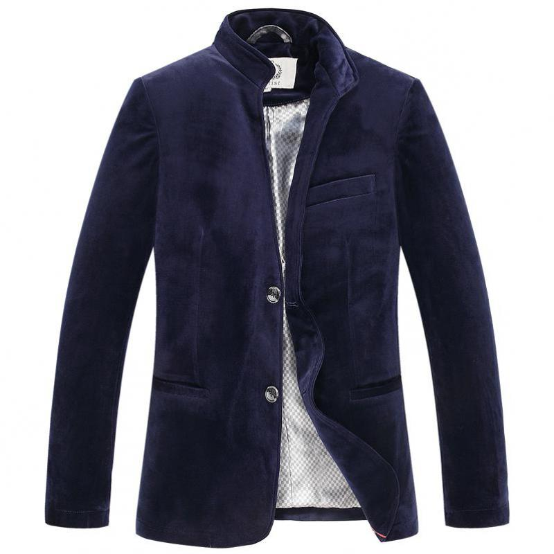 Otoño primavera moda hombres vino rojo Azul Marino solo pecho Slim Fit Velvet Blazer Coat, hombre 4xl 3xl Stand Collar Blazers velvetón