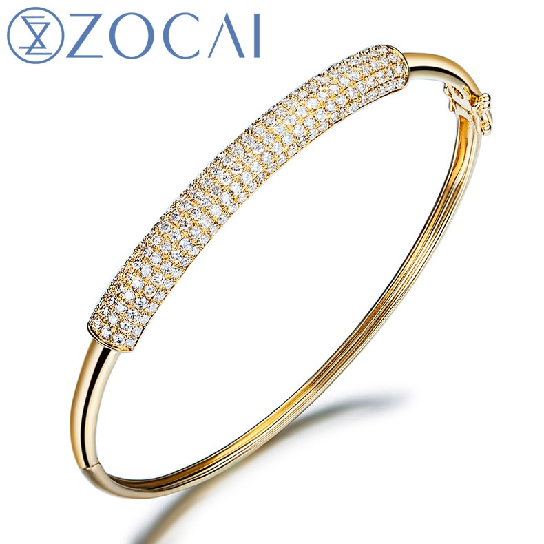 Pulseras de brazalete de diamantes con certificado ZOCAI 1,15 CT, brazaletes de joyería, brazaletes de pavé, oro blanco de 18K Z00055