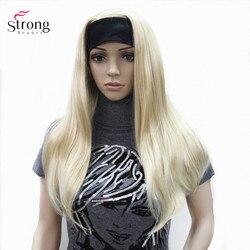StrongBeauty Headband perucas Capless Sintético Mulheres Reta Longa peruca de Cabelo Loiro/Preto Natural Perucas