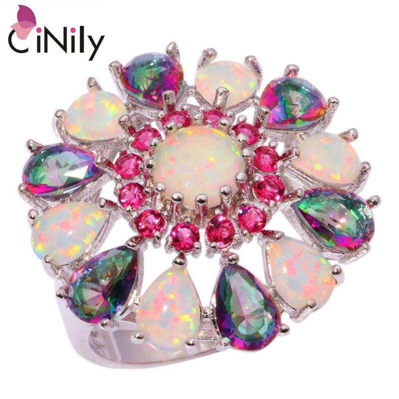 Cinily luxuoso branco fogo opala anéis banhado a prata arco-íris mystic zircon pedra kunzite rosa vermelho garnet festa flor jóias feminino