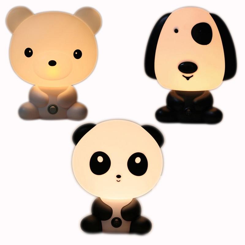 EU/US Plug Panda/Dog/Bear Cartoon Night Light Kids Baby Bedroom Bedside Decor Lamp Birthday Xmas Gift Dropshipping