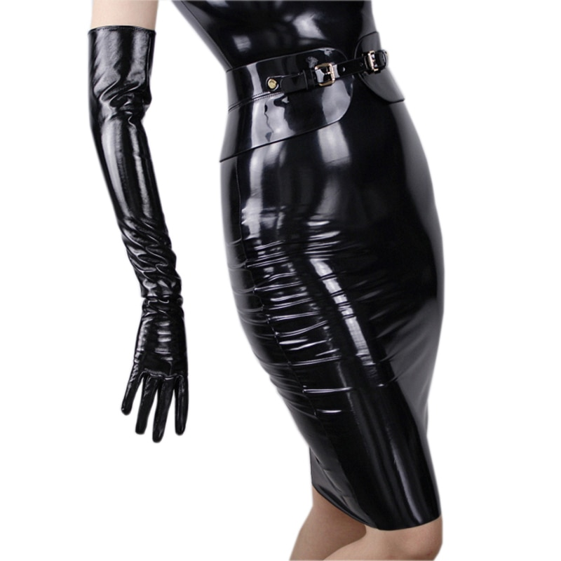 Black Patent Leather Long Gloves 60cm  Elbow High Quality PU No Lined Women TB09