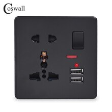 Coswall 벽 전원 소켓 13A 유니버설 5 홀 스위치 콘센트 네온 2.1A 듀얼 USB 충전기 포트 LED 표시기 블랙 컬러
