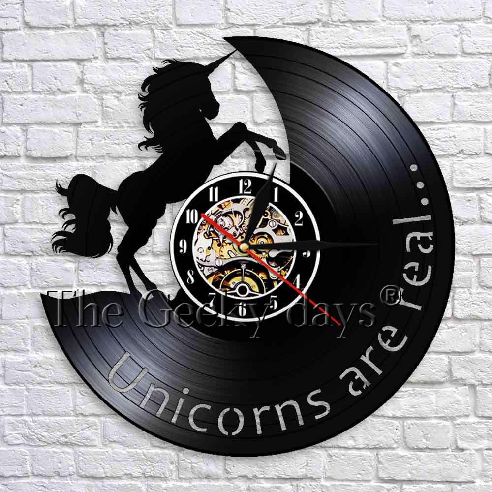 Unicorn Are Real Art Decorative Wall Clock Modern Design Vinyl Clocks Watches Handmade Wall Art Decor For Children's Room