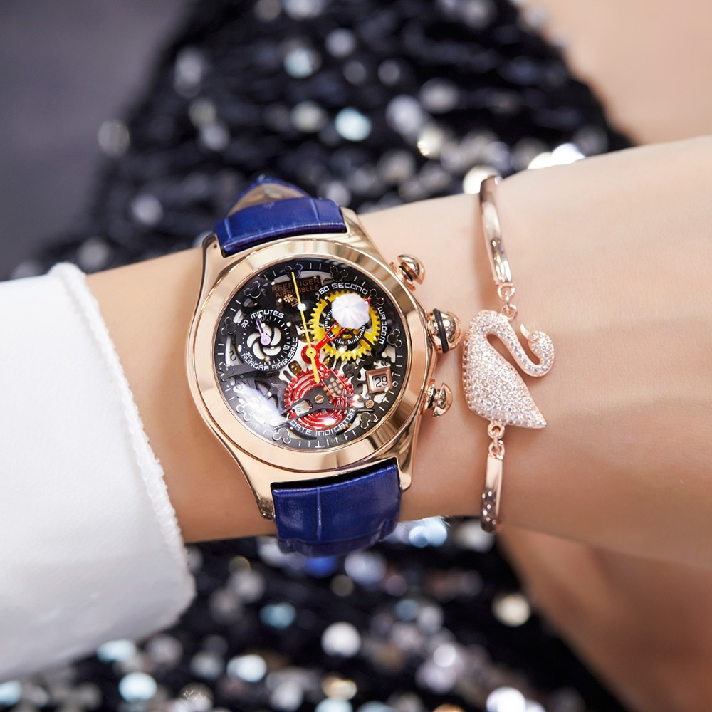 2021 Reef Tiger/RT Women Fashion Watches Swiss Ronda Movement Skeleton Watches Rose Gold Watches Date RGA7181 enlarge