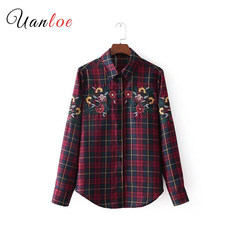 2019 mujeres Vintage Floral bordado a cuadros camisas de manga larga Turn Down Collar plisado blusa femenina Casual Tops Blusas