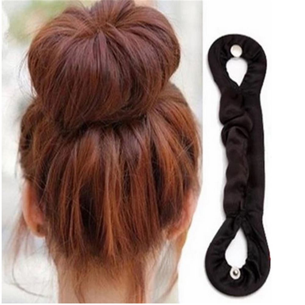 a001 fashionable hair style roller maker black 1pc Beauty Bun Maker Twist Curler Hair Roller Coiffure Hair Styling Tools Magic French Sponge Easy DIY Hair Braider