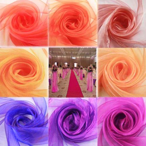 10m * 150cm rodillo brillante de organza Cinta para sillas de boda camino de mesa decoración Swag, 22 colores para U Pick