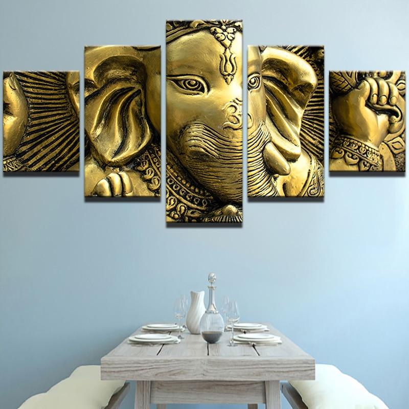 Lienzo de arte de pared Moderno marco DE PINTURA HD cartel Modular 5 piezas cabeza de elefante India Dios Ganesha fotos hogar decorativo