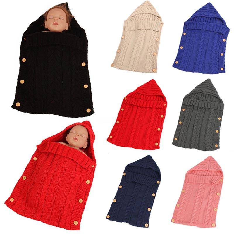Baby Newborn Hand Knitted Blanket Swaddle Sleeping Bag Sleep Sack Stroller Wraps NSV775